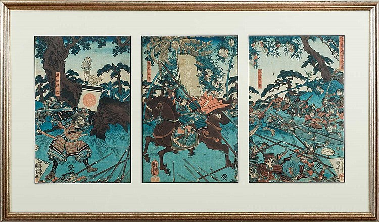 JAPANESE WOODBLOCK TRIPTYCH OF WARRIORS IN BATTLE IN A FOREST SETTING.