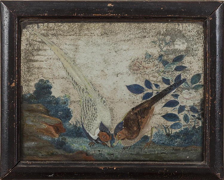 PAIR OF SMALL CHINESE MIRROR PAINTIINGS OF BIRDS IN A LANDSCAPE, LATE EIGHTEENTH CENTURY.