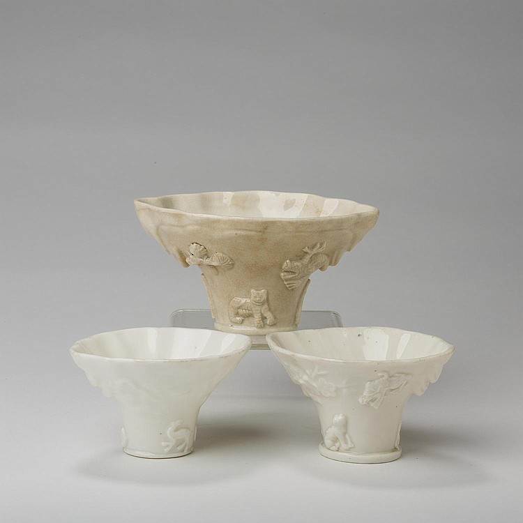 THREE CHINESE WHITE PORCELAIN