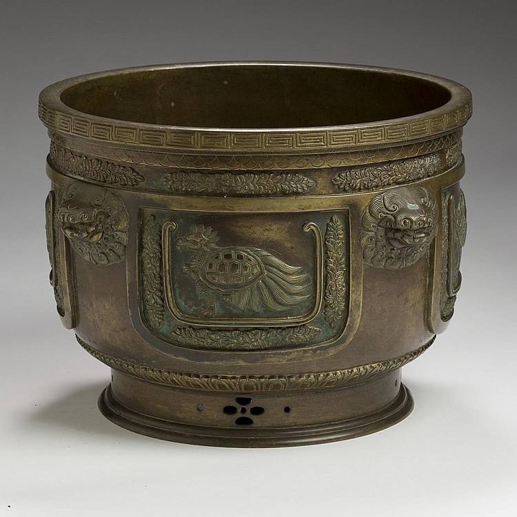 CHINESE PATINATED-BRONZE JARDINIERE.