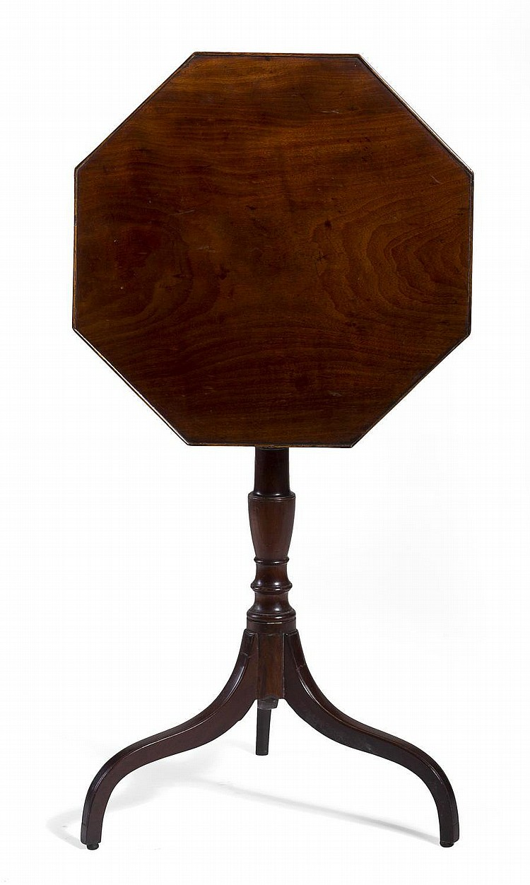 GEORGE III MAHOGANY TILT-TOP CANDLESTAND WITH OCTAGONAL TOP, CIRCA 1790.
