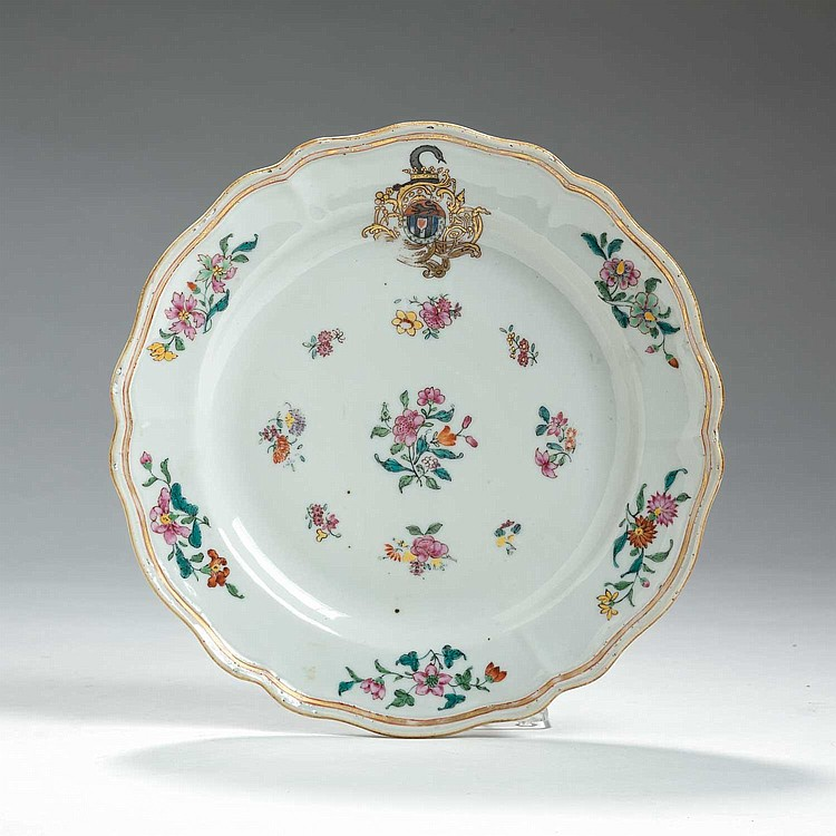 CHINESE EXPORT PORCELAIN ARMORIAL PLATE WITH THE ARMS OF BLACKWELL, CIRCA 1765.