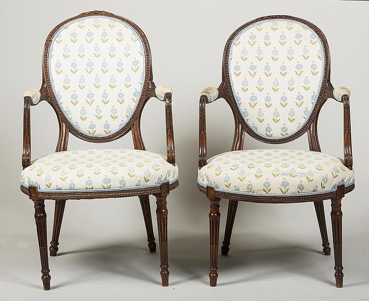 PAIR OF GEORGE III BEECHWOOD OPEN ARMCHAIRS.