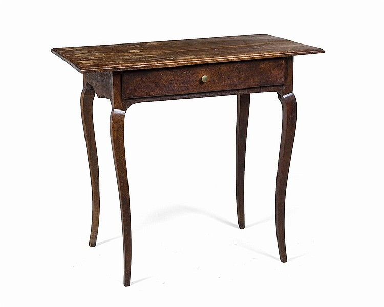 FRENCH PROVINCIAL FRUITWOOD SIDE TABLE.