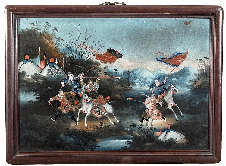 CHINESE REVERSE PAINTING ON GLASS OF WARRIORS ON HORSEBACK IN A LANDSCAPE.