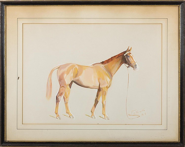 PAIR OF WATERCOLORS OF STANDING HORSES, TWENTIETH CENTURY.