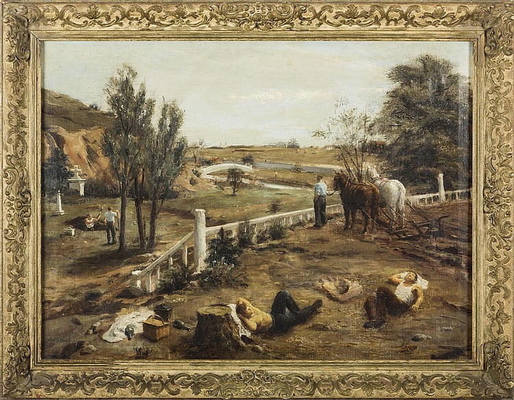 JOHN KOCH (AMERICAN 1909-1978). FARMERS NOONING.