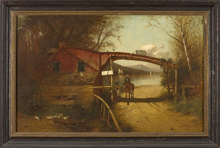 JOHN H. COCKS (AMERICAN 1849-1938). THE TOLL GATE.