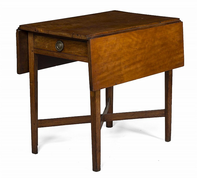 NEW ENGLAND HEPPLEWHITE CHERRYWOOD PEMBROKE TABLE WITH DRAWER.