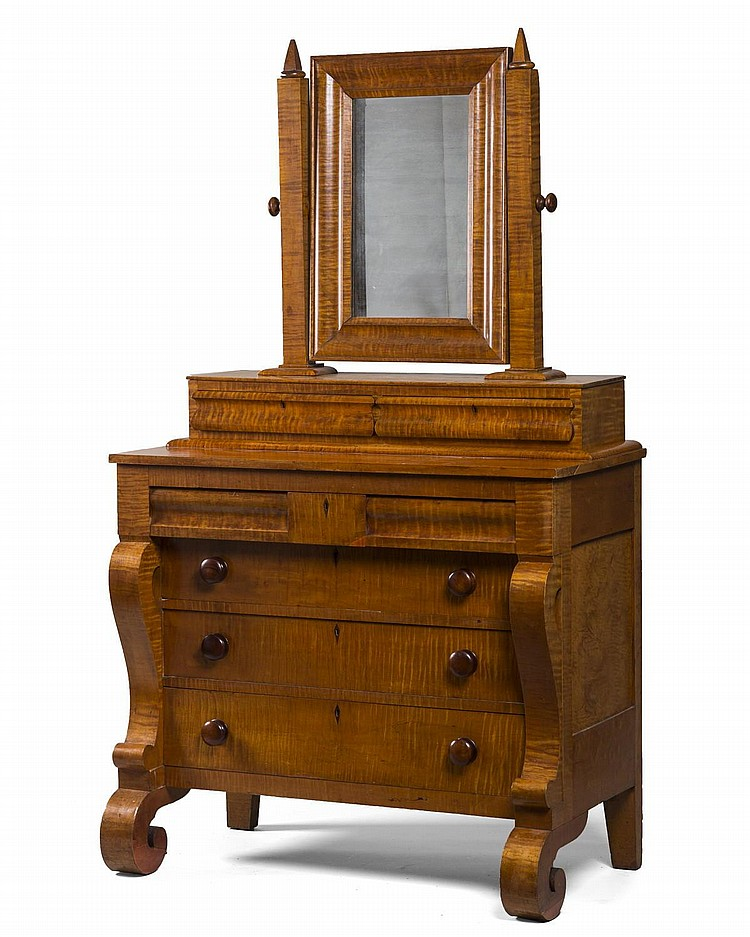 CLASSICAL FIGURED-MAPLE CHEST OF DRAWERS WITH MIRROR, VERMONT OR UPSTATE NEW YORK.