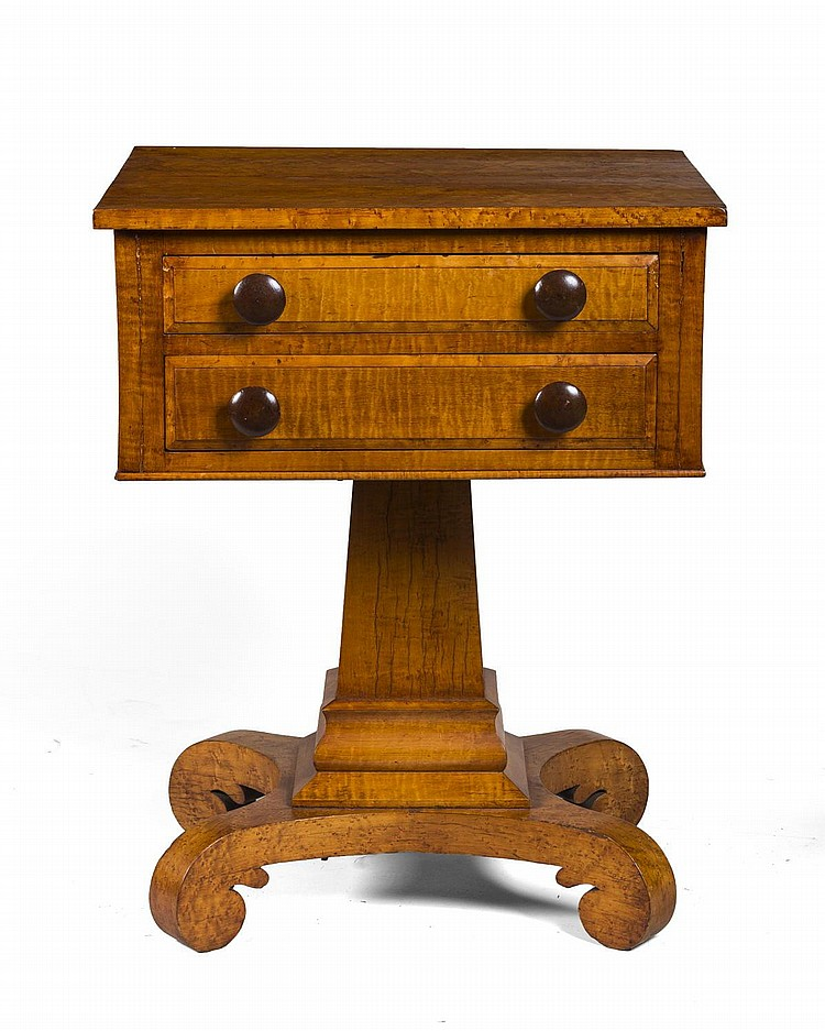CLASSICAL FIGURED-MAPLE TWO-DRAWER SEWING TABLE,  VERMONT OR UPSTATE NEW YORK.