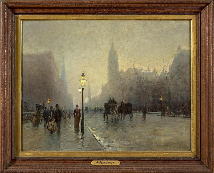 ALESSANDRO GUACCIMANNI (AMERICAN 1864-1927). NEW YORK STREET SCENE, EVENING.