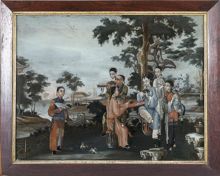 CHINESE REVERSE PAINTING ON GLASS OF CHINESE FIGURES IN A GARDEN PLAYING A CARD GAME.