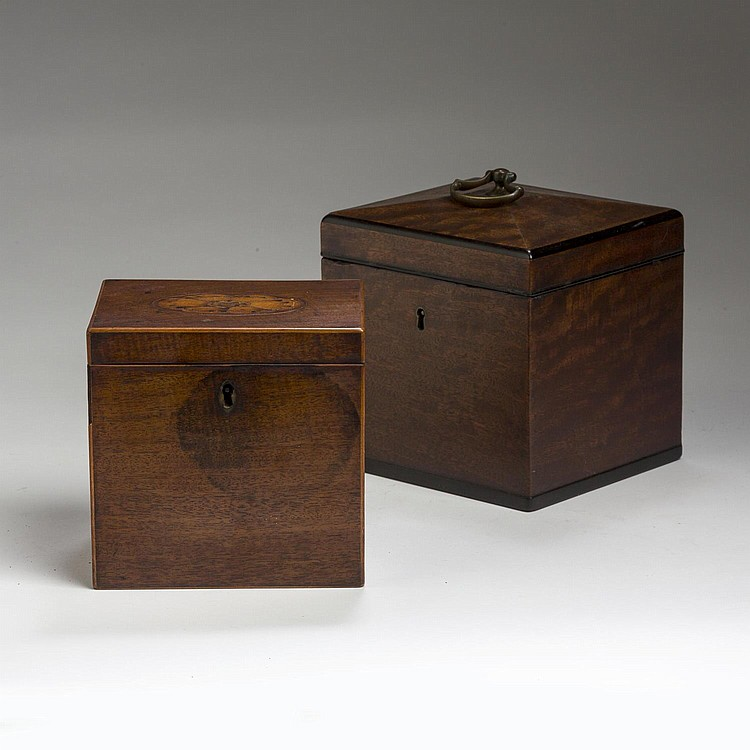 TWO GEORGE III MAHOGANY STRING-INLAID TEA CADDIES OF SQUARE FORM, 1800-10.