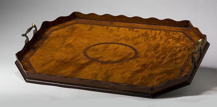 GEORGE III MAHOGANY CROSSBANDED TRAY WITH BRASS HANDLES, EARLY NINETEENTH CENTURY.
