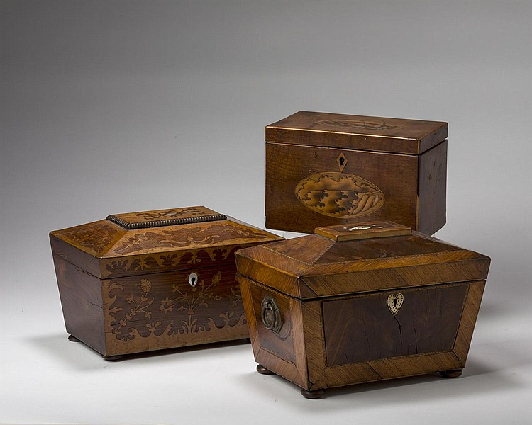 THREE GEORGE III MAHOGANY, WALNUT AND SATINWOOD PARQUETRY AND MARQUETRY-INLAID TEA CADDIES, LATE EIGHTEENTH - EARLY NINETEENTH CENTURY.