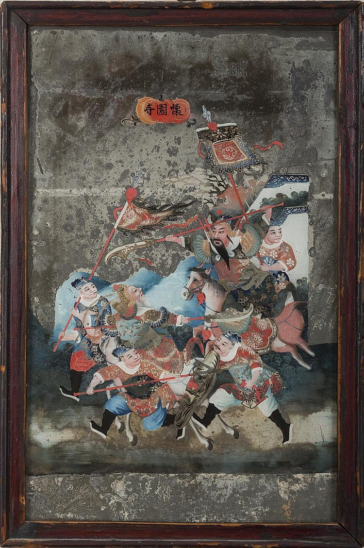 TWO CHINESE MIRROR PAINTINGS OF WARRIORS AND A NOBLEWOMAN WITH ATTENDANTS.