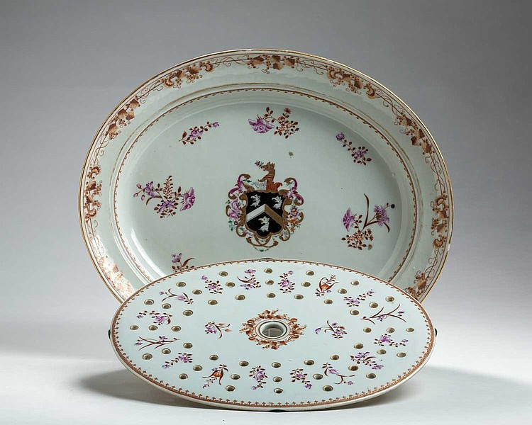 CHINESE EXPORT PORCELAIN ARMORIAL OVAL PLATTER AND MAZARIN WITH THE ARMS OF BOUME, CIRCA 1795.