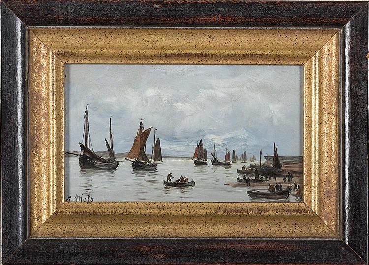 ROBERT MOLS (BELGIAN 1848-1903). MEDITERRANEAN HARBOR SCENE.