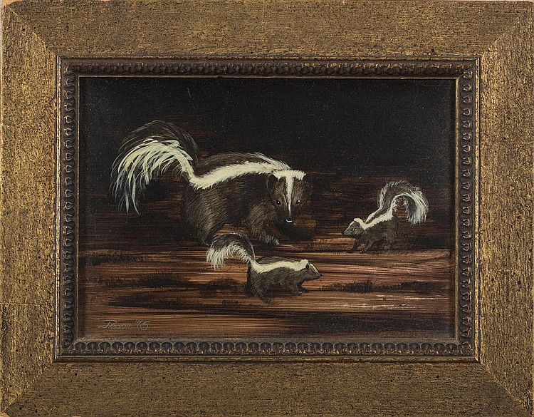 SMALL PAINTING OF A MOTHER SKUNK AND TWO BABIES, TWENTIETH CENTURY.
