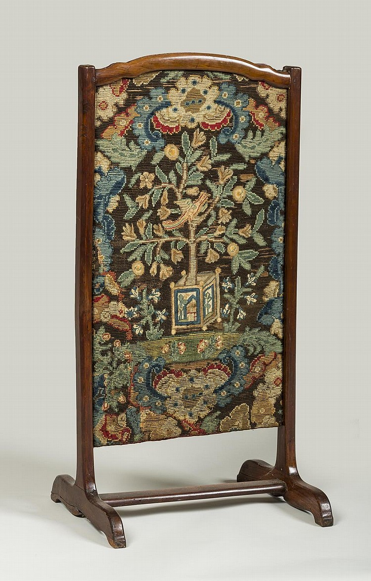 EUROPEAN FRUITWOOD FIRE SCREEN ON A TRESTLE BASE WITH NEEDLEPOINT AND PETIT-POINT PANEL.