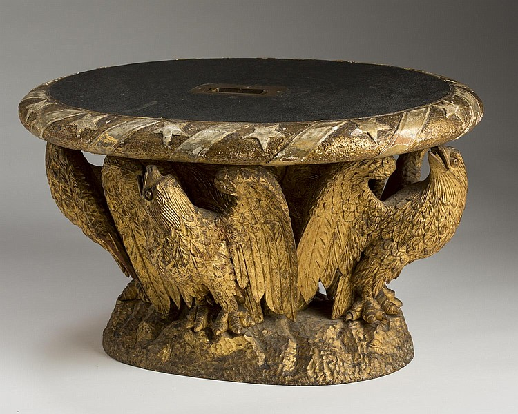 AMERICAN CARVED GILT PINE STOOL, POSSIBLY BY LABAM BEECHER, PORTSMOUTH, NEW HAMPSHIRE.