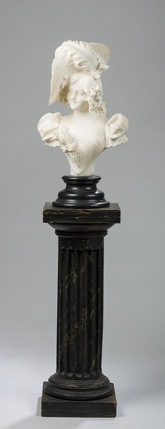 CARVED ITALIAN ALABASTER BUST OF A YOUNG WOMAN WEARING AN ELABORATE FEATHERED HAT, TOGETHER WITH A FLUTED BLACK AND GOLD