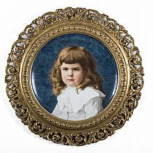 WEDGWOOD QUEEN'S WARE PORTRAIT CHARGER, PAINTED BY F.A. FRANCIS, 1885.
