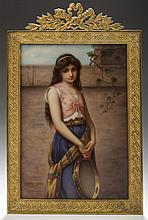 GERMAN PORCELAIN PORTRAIT PLAQUE DEPICTING 'MIGNON,' AFTER GEORG HOM (1838-1911), LATE NINETEENTH CENTURY.