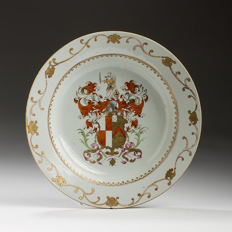 CHINESE EXPORT PORCELAIN ARMORIAL SOUP PLATE WITH THE ARMS OF TUITE IMPALING STAFFORD, CIRCA 1752.