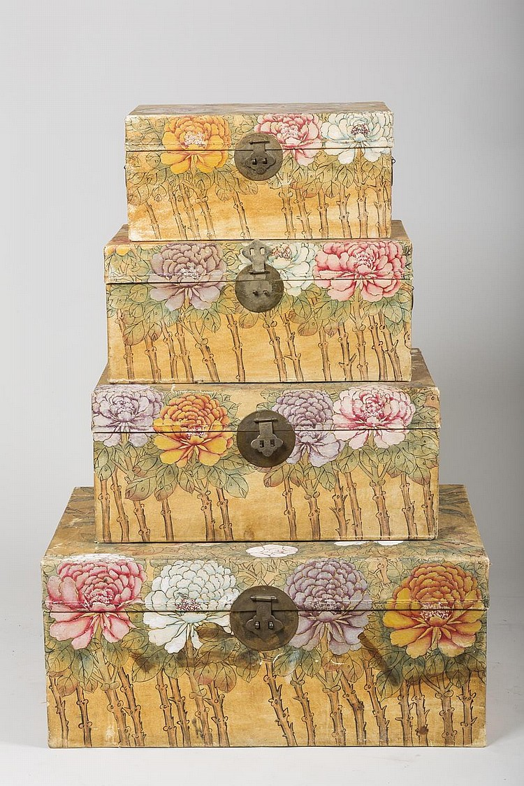 FOUR CHINESE PIGSKIN NESTING TRUNKS, EACH PAINTED WITH BIRDS AMIDST FLOWERING AND FRUITING BRANCHES.