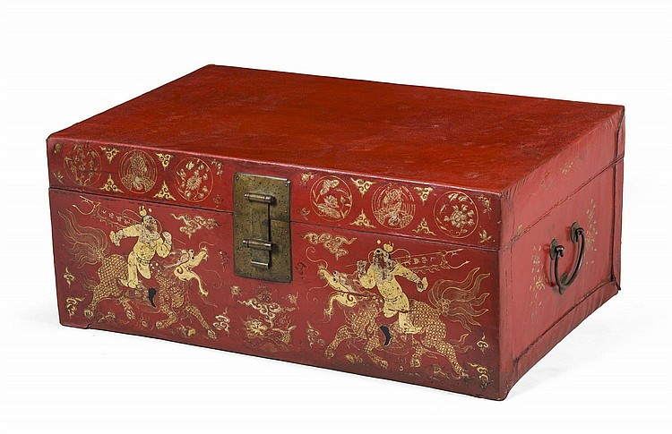 CHINESE RED PAINTED PIGSKIN TRUNK WITH GILT DECORATION OF WARRIORS AND MYTHOLOGICAL FIGURES.