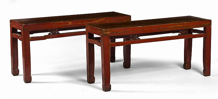 PAIR OF CHINESE RED-LACQUERED LOW TABLES.