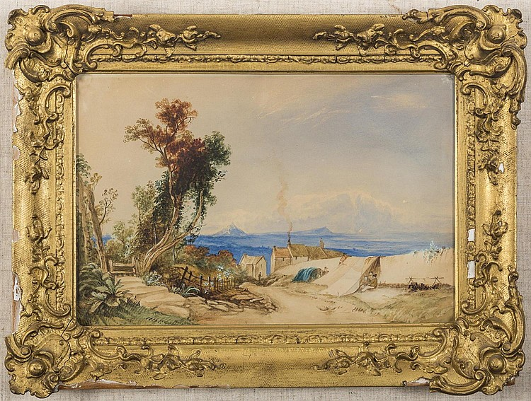 PAIR OF ENGLISH WATERCOLOR LANDSCAPES, MID-NINETEENTH CENTURY.