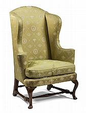 BOSTON QUEEN ANNE WALNUT WING CHAIR, CIRCA 1770.