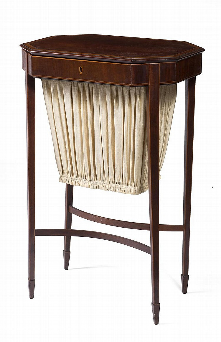 GEORGE III MAHOGANY AND SATINWOOD-INLAID OCTAGONAL WORK TABLE, CIRCA 1790.