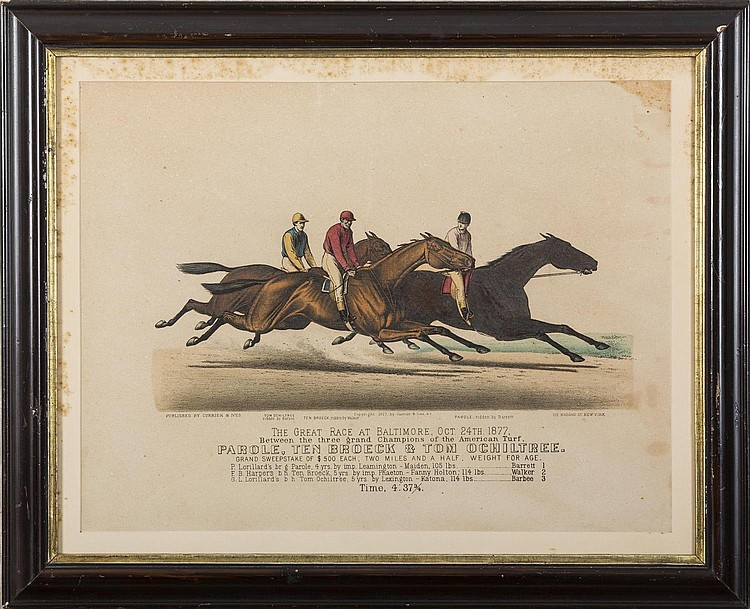 CURRIER & IVES. THE GREAT RACE AT BALTIMORE, OCT. 24TH 1877.