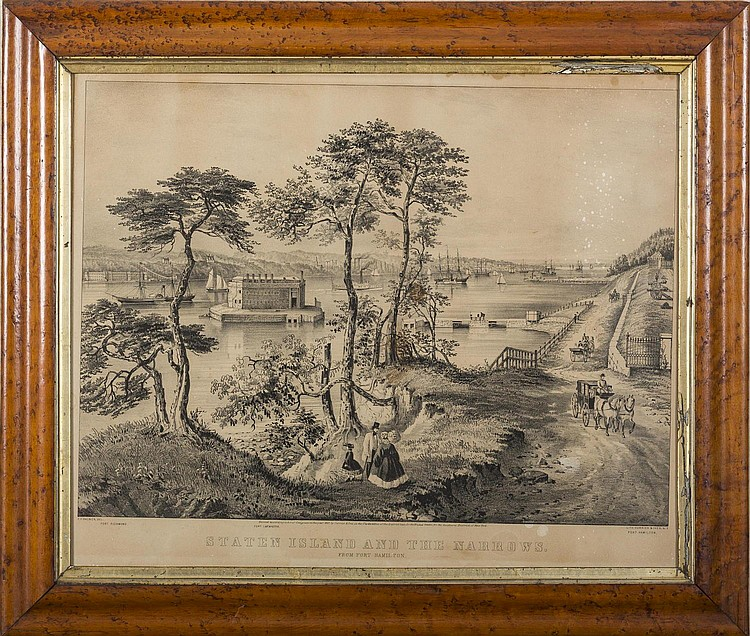 CURRIER & IVES. STATEN ISLAND AND THE NARROWS, FROM FORT HAMILTON.