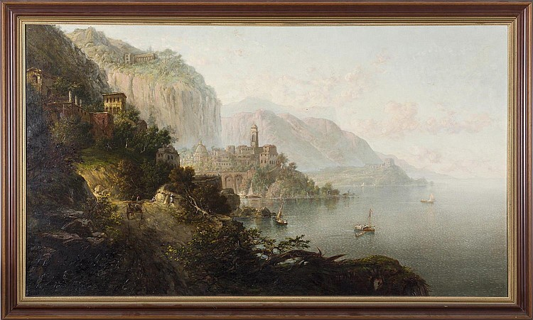 GEORGE LORING BROWN (AMERICAN 1814-1889). VIEW OF ATRANI, GULF OF SALERNO, ITALY.