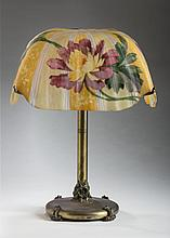 PAIRPOINT REVERSE PAINTED GLASS AND PATINATED-METAL TABLE LAMP, 1880-1929.