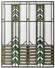 AMERICAN PRAIRIE SCHOOL LEADED GLASS WINDOW, IN THE MANNER OF FRANK LLOYD WRIGHT, 1900-15.