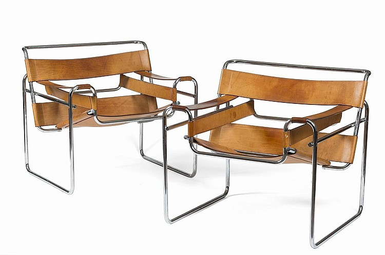 PAIR OF TUBULAR STEEL AND LEATHER