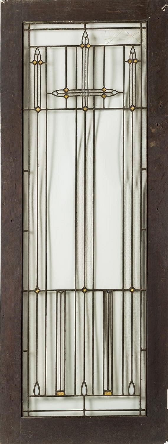 AMERICAN PRAIRIE SCHOOL LEADED GLASS AND OAK CUPBOARD DOOR, IN THE MANNER OF FRANK LLOYD WRIGHT, 1900-15.