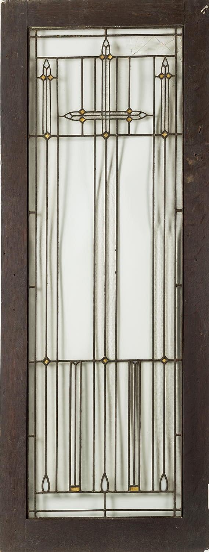 AMERICAN PRAIRIE SCHOOL LEADED GLASS AND OAK CUPBOARD DOOR, IN THE MANNER OF FRANK LLOYD WRIGHT, 1900-15.