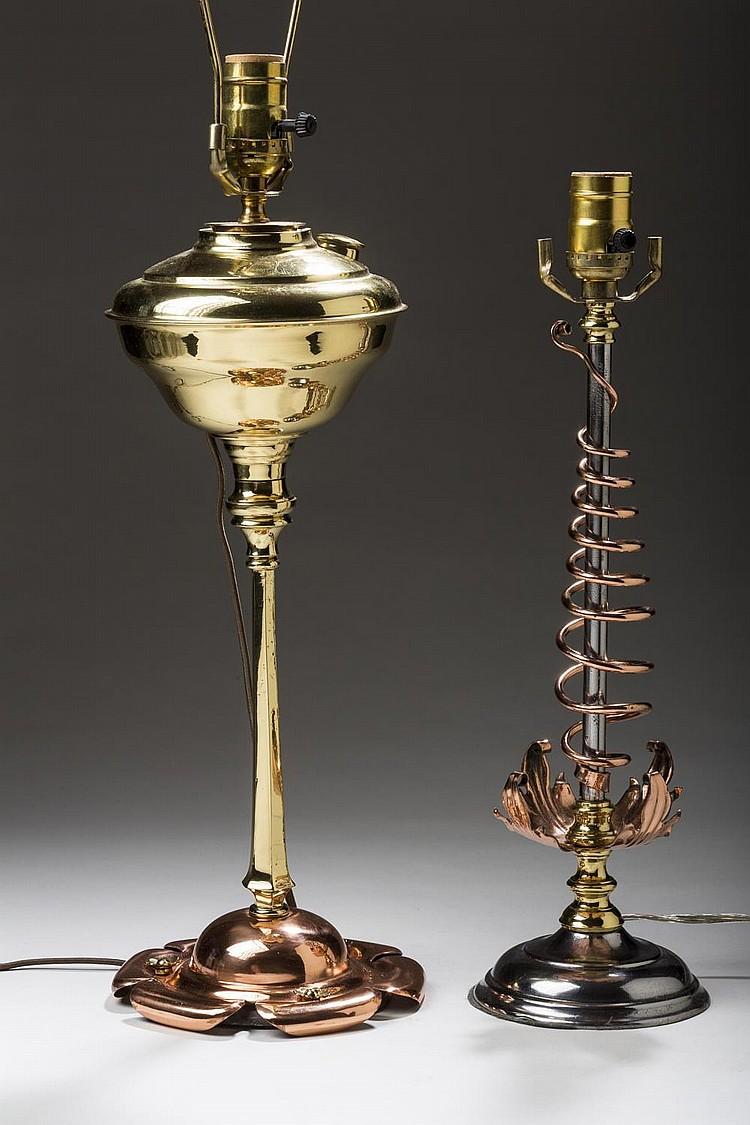 ENGLISH ARTS & CRAFTS CAST BRASS AND COPPER OIL LAMP, W.A.S. (WILLIAM ARTHUR SMITH) BENSON, CIRCA 1900.