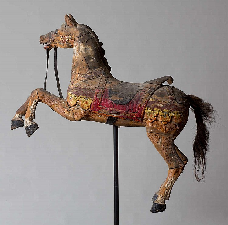 CARVED AND PAINTED CAROUSEL HORSE.