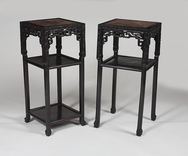 NEAR PAIR OF CHINESE HARDWOOD STANDS, EACH WITH INSET MARBLE TOP.