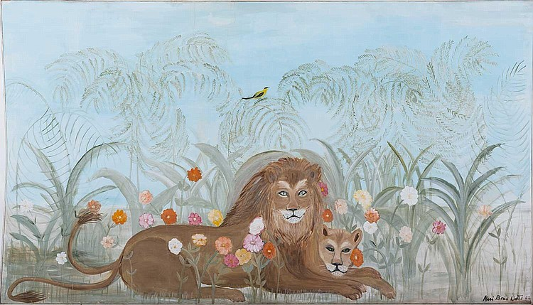 MARI BOIES WATTS (AMERICAN 1909-2007, ACT. NEW JERSEY). FANCIFUL LIONS IN A LANDSCAPE WITH FLOWERS, FERNS AND BIRD.