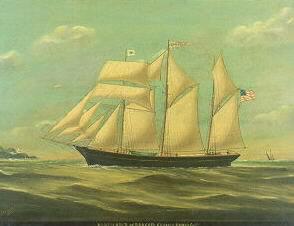 REUBEN CHAPPELL (BRITISH 1870-1940). BARKENTINE NORTH STAR OF BANGOR, MAINE, CAPT. ELISHA BANGS. Signed l.l. and inscribed
