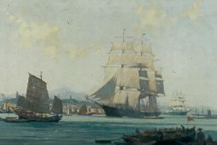 GORDON GRANT (AMERICAN 1875-1962). THE GAMECOCK, WHAMPOA HARBOR, CHINA. Signed and dated 1947, l.l., oil on canvas. 26 1/2 x 40 1/4 inches.